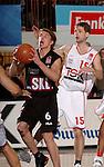 Basketball, BBL 2003/2004 , 1.Bundesliga Herren, Wuerzburg (Germany) X-Rays TSK Wuerzburg - GHP Bamberg (62:84) Steffen Hamann (Bamberg) am Ball, dahinter Igor Perovic (Wuerzburg)