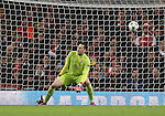 Arsenal's David Ospina can only watch as Monaco's Geoffrey Kondogbia's shot flies in<br /> <br /> Champions League - Arsenal  vs AS Monaco  - Emirates Stadium - England - 25th February 2015 - Picture David Klein/Sportimage