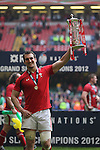 Wales captain Sam Warburton holds aloft the 6 Nations trophy..RBS 6 Nations 2012.Wales v France.Millennium Stadium.17.03.12..CREDIT: STEVE POPE-SPORTINGWALES