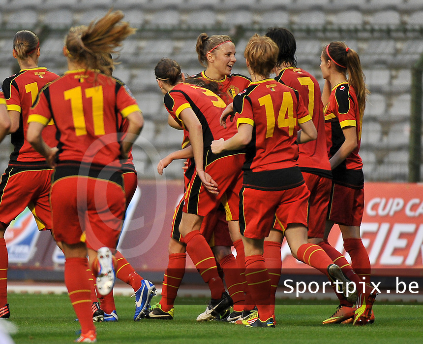 20130921 - BRUSSELS , BELGIUM : Belgium pictured celebrating the 1-0 lead during the female soccer match between Belgium and Albania , on the first matchday in group 5 of the UEFA qualifying round to the FIFA Women World Cup in Canada 2015 at the Koning Boudewijn Stadion , Brussels . Saturday 21th September 2013. PHOTO DAVID CATRY