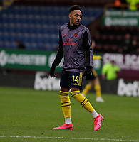 2nd February 2020; Turf Moor, Burnley, Lanchashire, England; English Premier League Football, Burnley versus Arsenal; Pierre-Emerick Aubameyang of Arsenal warms up - Strictly Editorial Use Only. No use with unauthorized audio, video, data, fixture lists, club/league logos or 'live' services. Online in-match use limited to 120 images, no video emulation. No use in betting, games or single club/league/player publications