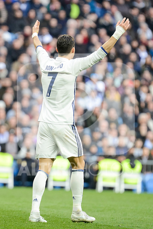 Real Madrid's Cristiano Ronaldo during La Liga match between Real Madrid and Malaga CF at Santiago Bernabeu Stadium in Madrid, Spain. January 21, 2017. (ALTERPHOTOS/BorjaB.Hojas)
