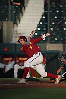 Brandon Perez (4) of the Southern California Trojans bats against the UC Irvine Anteaters at Dedeaux Field on April 18, 2017 in Los Angeles, California. UC Irvine defeated Southern California, 14-3. (Larry Goren/Four Seam Images)