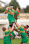 K. Vea claims lineout ball from M. Baird. Counties Manukau Premier Club Rugby round 5 game between Waiuku and Drury played at Waiuku on the 12th of May 2007. Waiuku led 33 - 0 at halftime and went on to win 57 - 5.