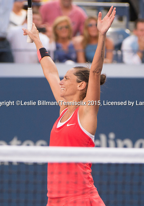 Roberta Vinci (ITA) defeats Serena Williams (USA) 2-6, 6-4, 6-4 at the US Open in Flushing, NY on September 11, 2015.