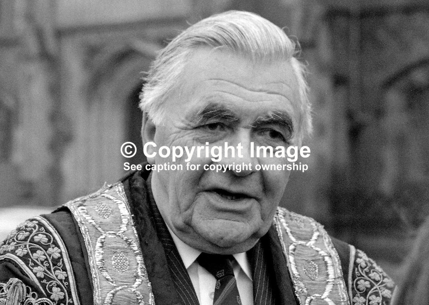 Sir Rowland Wright, Chancellor, Queen's University, Belfast, N Ireland, 19850401RW1. Former chairman ICI...Copyright Image from Victor Patterson, 54 Dorchester Park, Belfast, UK, BT9 6RJ..Tel: +44 28 9066 1296.Mob: +44 7802 353836.Voicemail +44 20 8816 7153.Skype: victorpattersonbelfast.Email: victorpatterson@mac.com.Email: victorpatterson@ireland.com (back-up)..IMPORTANT: If you wish to use this image or any other of my images please go to www.victorpatterson.com and click on the Terms & Conditions. Then contact me by email or phone with the reference number(s) of the image(s) concerned.