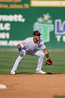Jackson Generals second baseman Ramon Hernandez (12) during a Southern League game against the Mississippi Braves on July 23, 2019 at The Ballpark at Jackson in Jackson, Tennessee.  Jackson defeated Mississippi 2-0 in the first game of a doubleheader.  (Mike Janes/Four Seam Images)
