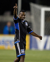 Marvin Chavez of Earthquakes celebrates after scoring a goal during the game against the Rapids at Buck Shaw Stadium in Santa Clara, California on May 18th, 2013.  San Jose Earthquakes tied Colorado Rapids, 1-1.