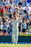Jonny Bairstow of England gets to 100 runs during Day 2 of the Second International Cricket Test match, New Zealand V England, Hagley Oval, Christchurch, New Zealand, 31th March 2018.Copyright photo: John Davidson / www.photosport.nz