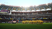 The teams line up for the national anthems during the Rugby Championship match between Australia and New Zealand at Optus Stadium in Perth, Australia on August 10, 2019 . Photo: Gary Day / Frozen In Motion