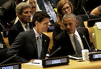 United States President Barack Obama (R) speaks with Canada's Prime Minister Justin Trudeau at a Leaders Summit for Refugees during the United Nations 71st session of the General Debate at the United Nations General Assembly at United Nations headquarters in New York, New York, USA, 20 September 2016. Photo Credit: Peter Foley/CNP/AdMedia