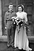 BNPS.co.uk (01202 558833)<br /> Pic: MargaretNorbury/BNPS<br /> <br /> PICTURED: Kath and Ralph Norbury's wedding 4 Oct '44.<br /> <br /> The last surviving glider pilot to participate in all of the major airborne operations of World War Two who has died aged 100.<br /> <br /> Staff Sergeant Ralph Norbury flew wooden gliders deep behind enemy lines at the invasion of Sicily in July 1943.<br /> <br /> Eleven months later on D-Day he became one of the first Allied servicemen to step foot on Nazi-occupied France after landing ahead of main invasion. <br /> <br /> In September 1944 he fought in the Battle of Arnhem in Holland and then took part in Operation Varsity over the Rhine in western Germany in March 1945.