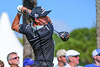 Rickie Fowler (USA) watches his tee shot on 18 during round 2 of the Honda Classic, PGA National, Palm Beach Gardens, West Palm Beach, Florida, USA. 2/24/2017.<br /> Picture: Golffile | Ken Murray<br /> <br /> <br /> All photo usage must carry mandatory copyright credit (&copy; Golffile | Ken Murray)