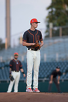 AZL Giants Black starting pitcher Conner Nurse (31) looks to his catcher for the sign during an Arizona League game against the AZL Royals at Scottsdale Stadium on August 7, 2018 in Scottsdale, Arizona. The AZL Giants Black defeated the AZL Royals by a score of 2-1. (Zachary Lucy/Four Seam Images)
