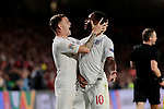England's Kieran Trippier (L) and Raheem Sterling (R) celebrate goal during UEFA Nations League 2019 match between Spain and England at Benito Villamarin stadium in Sevilla, Spain. October 15, 2018. (ALTERPHOTOS/A. Perez Meca)