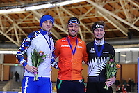 SPEEDSKATING: BERLIN: Sportforum Berlin, 27-01-2017, ISU World Cup, Podium 1500m Men A Division, Denis Yuskuv (RUS), Kjeld Nuis (NED), Peter Michael (NZL), ©photo Martin de Jong