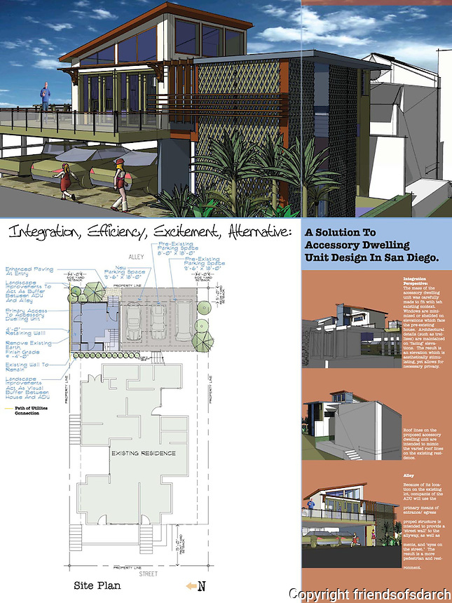 Zachary Adams, Architect, submitted an ADU design in the Professional category of FSDA's ADU Competition 2004.