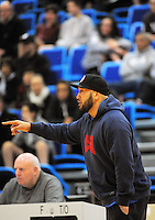 St Pat's Town coach George Le'afa during the 2014 College Sport Wellington senior boys' Basketball Championship final between the St Patrick's College (Town) and Hutt Valley High School at Te Rauparaha Arena, Porirua, Wellington, New Zealand on Thursrday, 28 August 2014. Photo: Dave Lintott / lintottphoto.co.nz