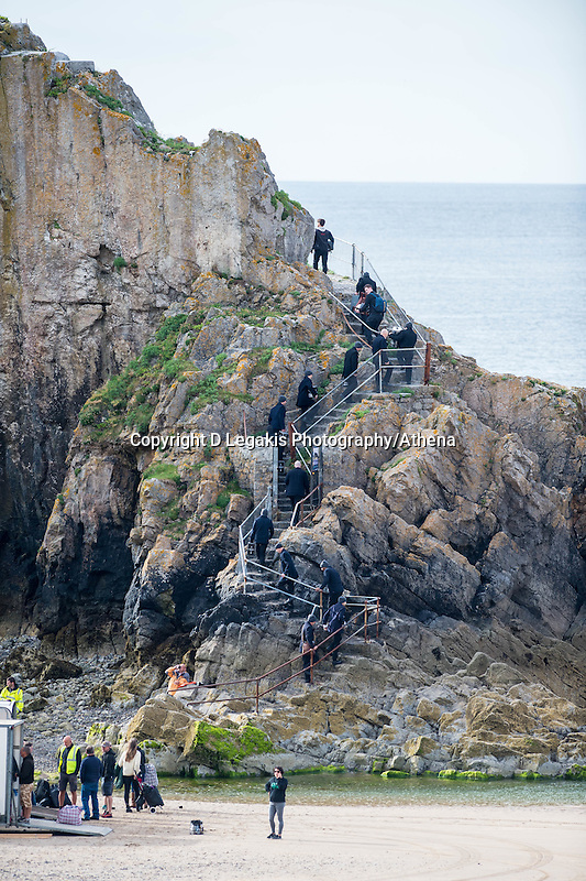 Tuesday  28 June 2016<br /> Pictured: Cast members make their way on to the island<br /> Re: Sherlock filming on St.Catherines Island, Wales, UK