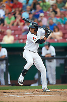 Kane County Cougars outfielder Victor Reyes (5) at bat during a game against the Great Lakes Loons on August 13, 2015 at Fifth Third Bank Ballpark in Geneva, Illinois.  Great Lakes defeated Kane County 7-3.  (Mike Janes/Four Seam Images)
