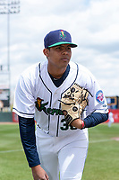 Cedar Rapids Kernels pitcher Luis Rijo (39) poses for a photo before a Midwest League game against the Dayton Dragons at Perfect Game Field on May 5, 2019 in Cedar Rapids, Iowa. (Zachary Lucy/Four Seam Images)