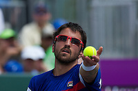KEY BISCAYNE, FL - MARCH 25: Radek Stepanek competes during Day 7 of the Sony Ericsson Open in Miami on March 25th, 2012 in Key Biscayne, FL. ( Photo by Chaz Niell/Media Punch Inc.)