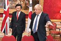 22 February 2017 - UK Foreign Secretary Boris Johnson and South Korean counterpart Yun Byung-se during a bilateral meeting in central London. Photo Credit: ALPR/AdMedia