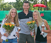 August 9, 2014, Netherlands, Rotterdam, TV Victoria, Tennis, National Junior Championships, NJK,  Prize giving, Richard Krajicek with Nina Kruijer (R) and Isolde de Jong, winners girls  doubles 16 years<br /> Photo: Tennisimages/Henk Koster
