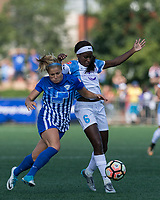 Boston, MA - Saturday August 19, 2017: Rosie White, Chioma Ubogagu during a regular season National Women's Soccer League (NWSL) match between the Boston Breakers (blue) and the Orlando Pride (white/light blue) at Jordan Field. Orlando Pride defeated Boston Breakers, 2-1.