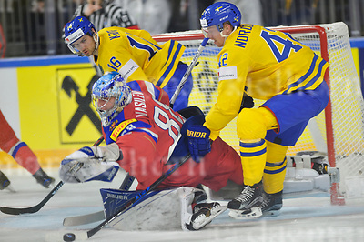 Friday, 5 May, 2017,Lanxess Arena , Cologne/GER<br /> IIHF World Hockey Championship 2017<br /> SWE  vs  RUS<br /> Russia`s goaltender  Andrei VASILEVSKI stops a shot between Sweden`s Marcus KRUGER,l and Joakim  NORDSTROM ,rFriday, 5 May, 2017,Lanxess Arena , Cologne/GER<br /> IIHF World Hockey Championship 2017<br /> USA  vs  GER