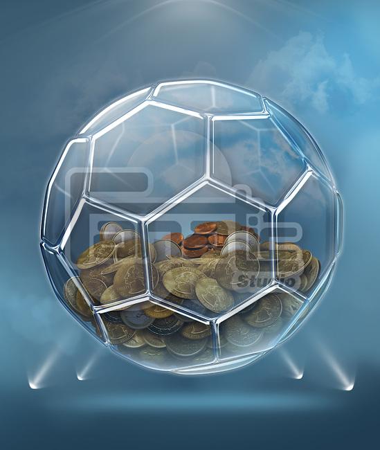 Illustration of coins inside transparent ball representing savings for soccer career