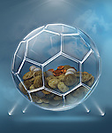 Illustration of coins inside transparent ball representing savings for soccer career