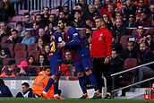 18th March 2018, Camp Nou, Barcelona, Spain; La Liga football, Barcelona versus Athletic Bilbao; Andre Gomes of FC Barcelona replaces Philippe Coutinho of FC Barcelona
