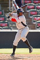 Hanser Alberto #3 of the Hickory Crawdads at bat against the Kannapolis Intimidators at CMC-Northeast Stadium on April 8, 2012 in Kannapolis, North Carolina.  The Intimidators defeated the Crawdads 12-11.  (Brian Westerholt/Four Seam Images)