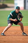 Augusta third baseman David Maroul takes some ground balls during batting practice at Fieldcrest Cannon Stadium in Kannapolis, NC, Saturday, June 17, 2006.