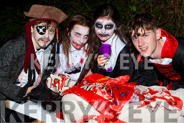 Dean Linehan Knocknagoshel, Clodagh Hannon Listowel, Dearbhla Cronin Finuge and Sean Kissane Lixnaw putting the HELL into the Knocknagoshel Halloween Festival on Sunday night