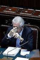 Il presidente del Consiglio Mario Monti .Roma 05/07/2012 Camera dei Deputati - Informativa urgente del Governo sugli esiti del Consiglio europeo del 28-29 giugno.Foto Serena Cremaschi Insidefoto