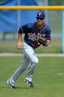 Minnesota Twins outfielder Zack Larson (50) during practice before a minor league spring training game against the Baltimore Orioles on March 20, 2014 at the Buck O'Neil Complex in Sarasota, Florida.  (Mike Janes/Four Seam Images)