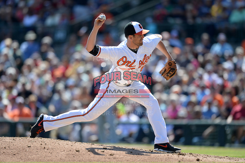 Baltimore Orioles pitcher Darren O'Day (56) during a spring training game against the Boston Red Sox on March 8, 2014 at Ed Smith Stadium in Sarasota, Florida.  Baltimore defeated Boston 7-3.  (Mike Janes/Four Seam Images)