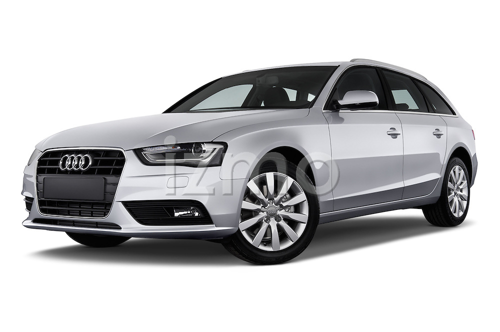 Low aggressive front three quarter view of a 2014 Audi A4 AMBITION LUXE 5 Door Wagon 2WD