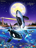 Interlitho, FANTASY, paintings, 2 orcas, moon, light, KL, KL3868,#fantasy# illustrations, pinturas
