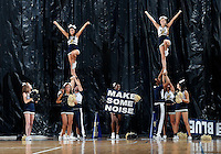 Florida International University cheerleaders perform during the game against Florida Memorial University in an exhibition game .  FIU won the game 86-69 on November 9, 2011 at Miami, Florida. .