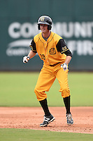 Jacksonville Suns  shortstop Danny Black (18) leads off first during a game against the Pensacola Blue Wahoos on April 20, 2014 at Bragan Field in Jacksonville, Florida.  Jacksonville defeated Pensacola 5-4.  (Mike Janes/Four Seam Images)