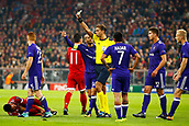 September 12th 2017, Munich, Germany, Champions League football, Bayern Munich versus Anderlecht;  Referee Paolo Tagliavento (Ita) gives out a yellow card