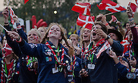 Happy Danes singing and waving their flags during the slideshow about the coming Jamboree in Denmark.  Photo: Malin Duveblad/Scouterna