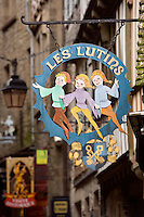 Les Lutins, typical sign of Le Mont Saint Michel, Manche, Basse Normandie, France. Picture by Manuel Cohen