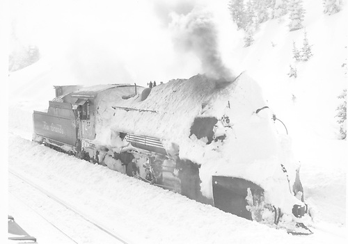 #483 idling at Cumbres Station after bucking heavy snow.<br /> D&amp;RGW  Cumbres, CO  Taken by Richardson, Robert W. - 1/21/1949