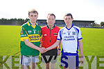 Captain Niall Sheehy of Tralee CBS, ref Shane Hourigan Sean Curry captain of  St Flannan's of  Clare in the Frewen Cup Final  held last Wednesday in Croagh, Co. Limerick.