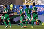 Amanov Arslan of Turkmenistan (C) celebrating scoring the opening goal of the team during the AFC Asian Cup UAE 2019 Group F match between Japan (JPN) and Turkmenistan (TKM) at Al Nahyan Stadium on 09 January 2019 in Abu Dhabi, United Arab Emirates. Photo by Marcio Rodrigo Machado / Power Sport Images