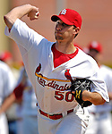 28 February 2007: St. Louis Cardinals pitcher Adam Wainwright warms up prior to facing the Florida Marlins on Opening Day for Spring Training at Roger Dean Stadium in Jupiter, Florida.<br /> <br /> Mandatory Photo Credit: Ed Wolfstein Photo